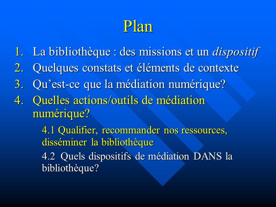 Plan 1.La bibliothèque : des missions et un dispositif 2.Quelques constats et éléments de contexte 3.Quest-ce que la médiation numérique? 4.Quelles ac
