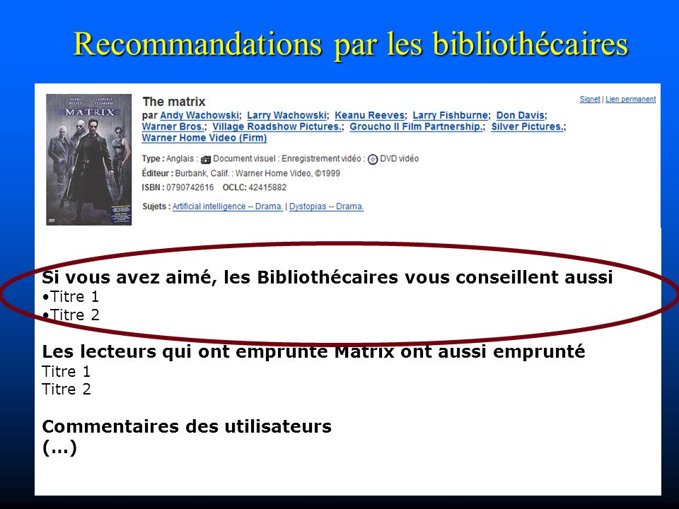 Si vous avez aimé, les Bibliothécaires vous conseillent aussi Titre 1 Titre 2 Les lecteurs qui ont emprunté Matrix ont aussi emprunté Titre 1 Titre 2 Commentaires des utilisateurs (…) Recommandations par les bibliothécaires
