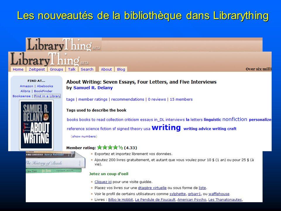 Les nouveautés de la bibliothèque dans Librarything