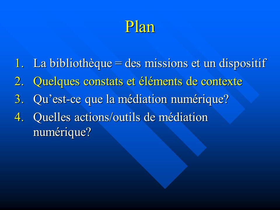 Plan 1.La bibliothèque = des missions et un dispositif 2.Quelques constats et éléments de contexte 3.Quest-ce que la médiation numérique? 4.Quelles ac