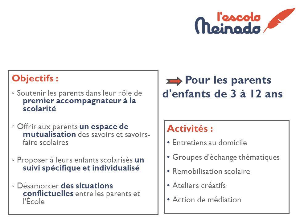 Pour les parents d'enfants de 3 à 12 ans Objectifs : Soutenir les parents dans leur rôle de premier accompagnateur à la scolarité Offrir aux parents u
