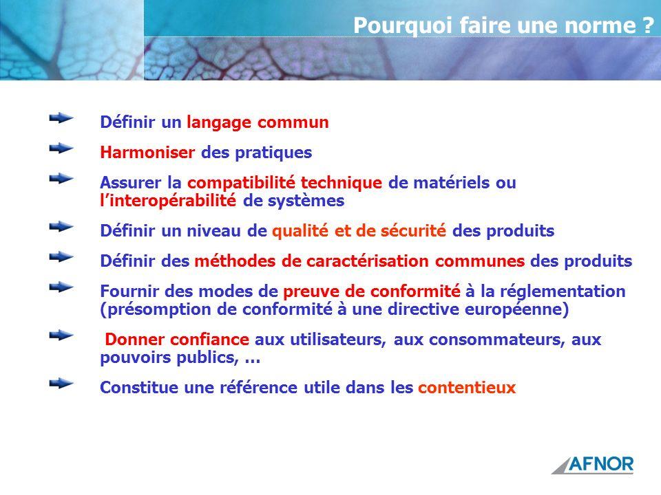 Définir un langage commun Harmoniser des pratiques Assurer la compatibilité technique de matériels ou linteropérabilité de systèmes Définir un niveau