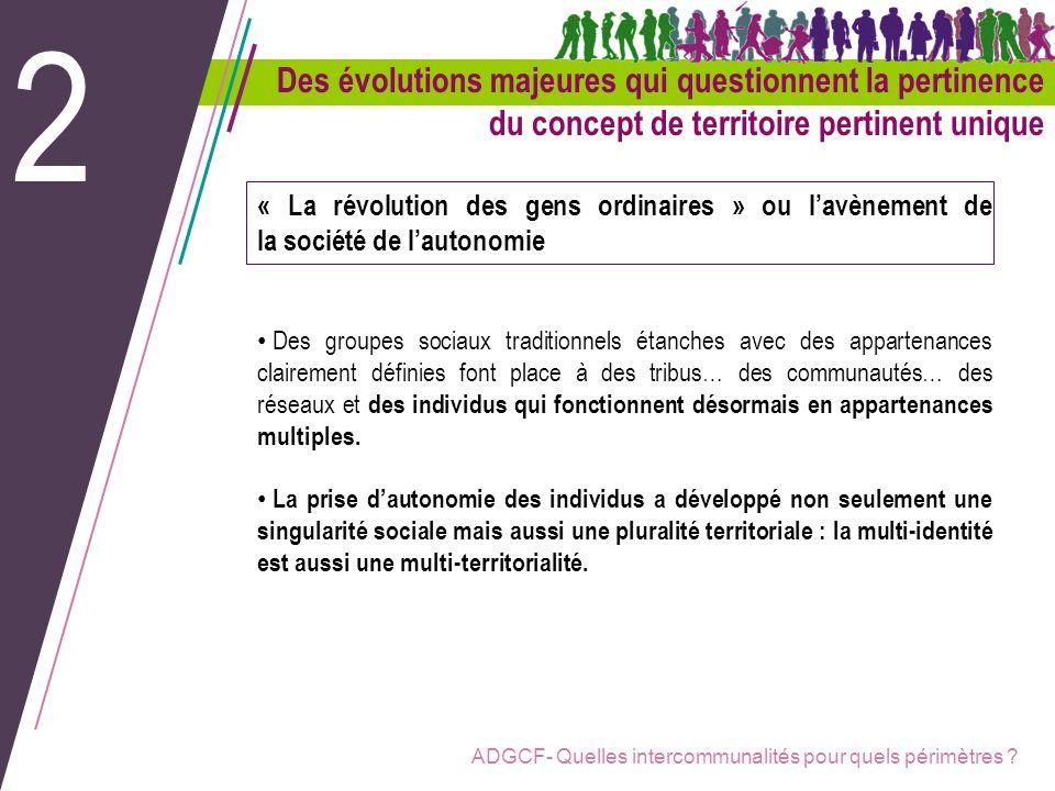ADGCF- Quelles intercommunalités pour quels périmètres ? Des évolutions majeures qui questionnent la pertinence du concept de territoire pertinent uni
