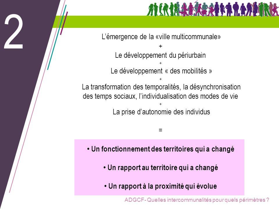 ADGCF- Quelles intercommunalités pour quels périmètres ? Lémergence de la «ville multicommunale» + Le développement du périurbain + Le développement «