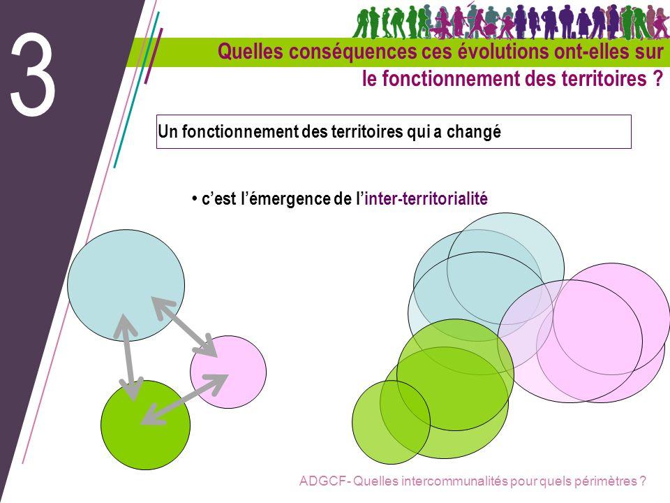 ADGCF- Quelles intercommunalités pour quels périmètres ? Un fonctionnement des territoires qui a changé cest lémergence de linter-territorialité 3 Que