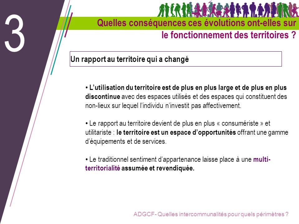 ADGCF- Quelles intercommunalités pour quels périmètres ? Un rapport au territoire qui a changé Lutilisation du territoire est de plus en plus large et