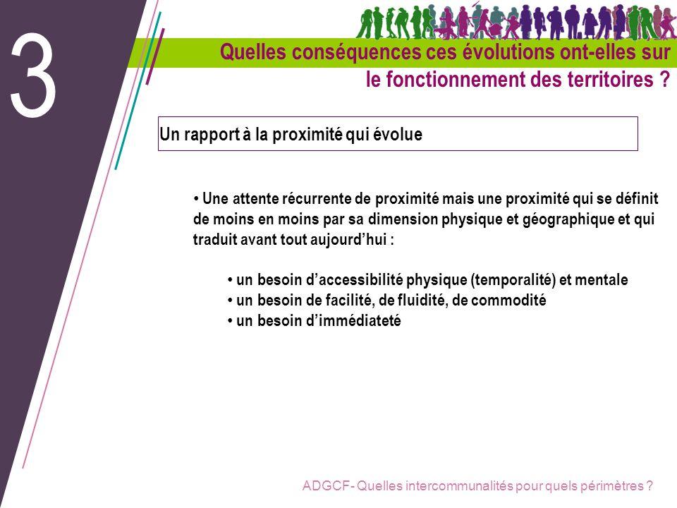 ADGCF- Quelles intercommunalités pour quels périmètres ? Un rapport à la proximité qui évolue Une attente récurrente de proximité mais une proximité q