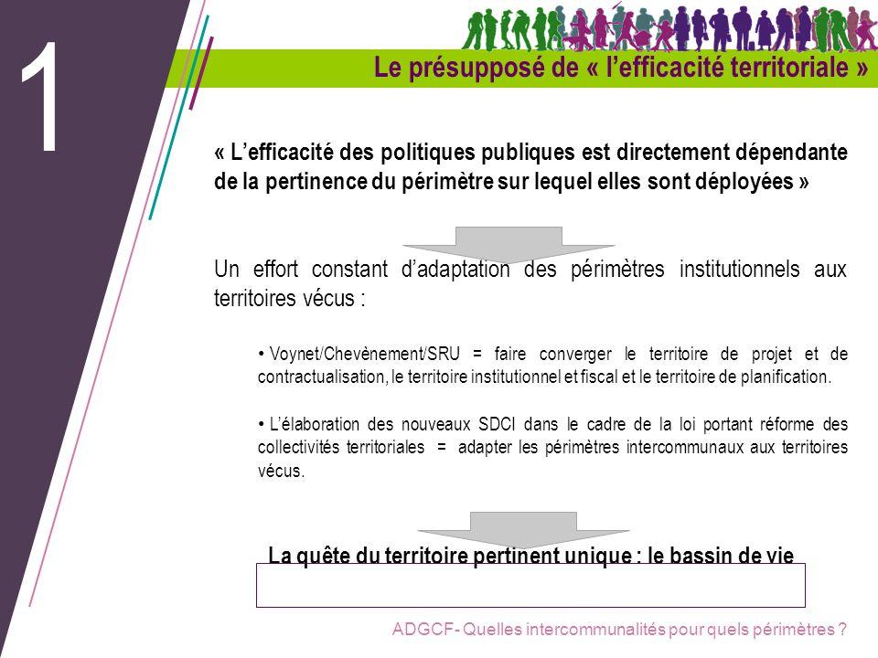 ADGCF- Quelles intercommunalités pour quels périmètres ? Le présupposé de « lefficacité territoriale » 1 « Lefficacité des politiques publiques est di