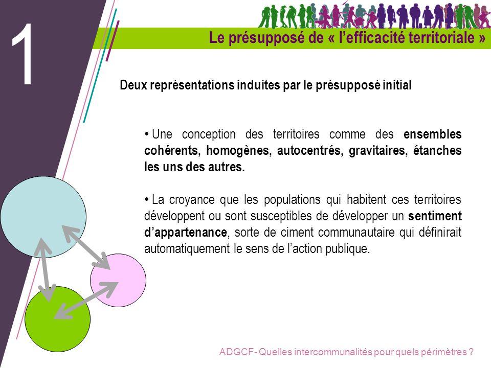 ADGCF- Quelles intercommunalités pour quels périmètres ? Le présupposé de « lefficacité territoriale » 1 Deux représentations induites par le présuppo