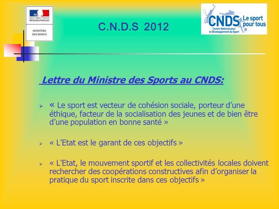 C.N.D.S 2012 Lettre du Ministre des Sports au CNDS: « Le sport est vecteur de cohésion sociale, porteur dune éthique, facteur de la socialisation des