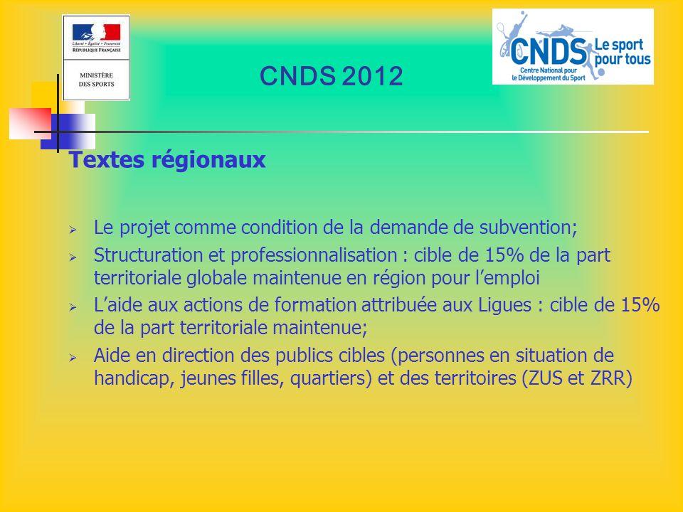 CNDS 2012 Textes régionaux Le projet comme condition de la demande de subvention; Structuration et professionnalisation : cible de 15% de la part terr