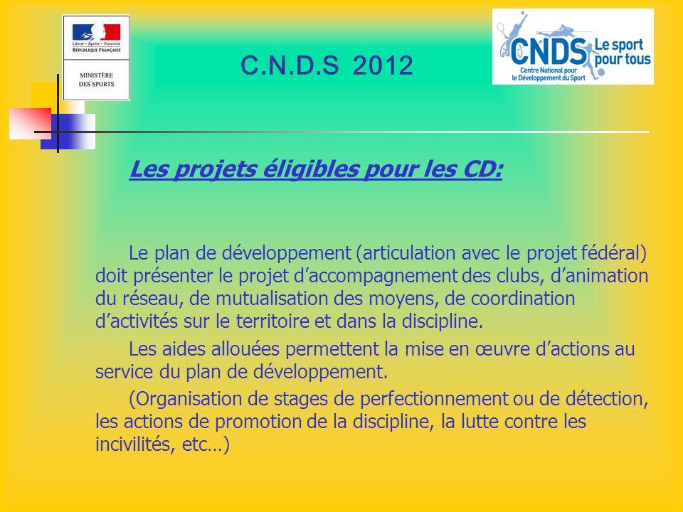 C.N.D.S 2012 Les projets éligibles pour les CD: Le plan de développement (articulation avec le projet fédéral) doit présenter le projet daccompagnemen