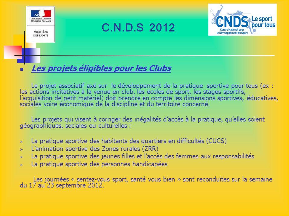 C.N.D.S 2012 Les projets éligibles pour les Clubs Le projet associatif axé sur le développement de la pratique sportive pour tous (ex : les actions in