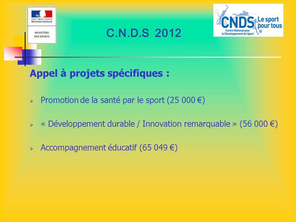 C.N.D.S 2012 Appel à projets spécifiques : Promotion de la santé par le sport (25 000 ) « Développement durable / Innovation remarquable » (56 000 ) A