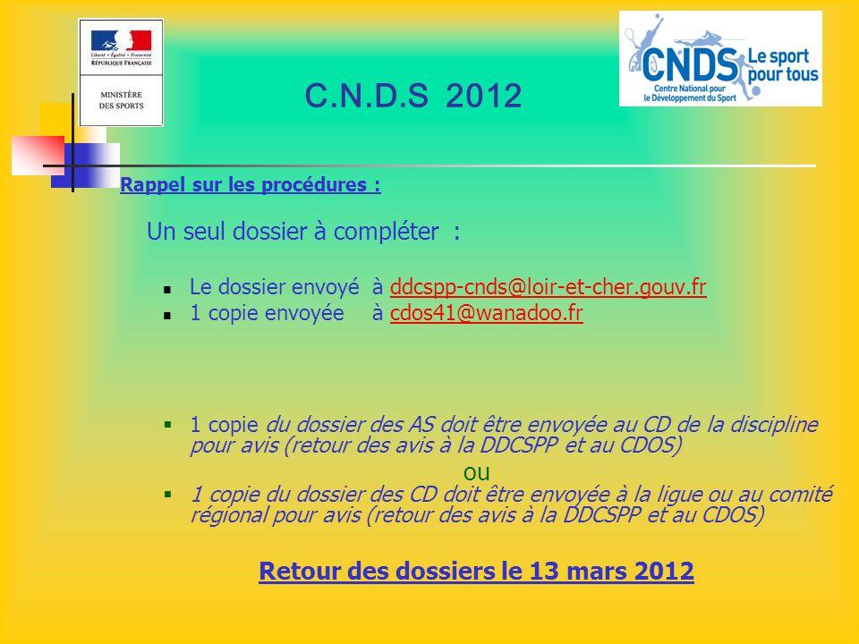 C.N.D.S 2012 Rappel sur les procédures : Un seul dossier à compléter : Le dossier envoyé à ddcspp-cnds@loir-et-cher.gouv.frddcspp-cnds@loir-et-cher.go