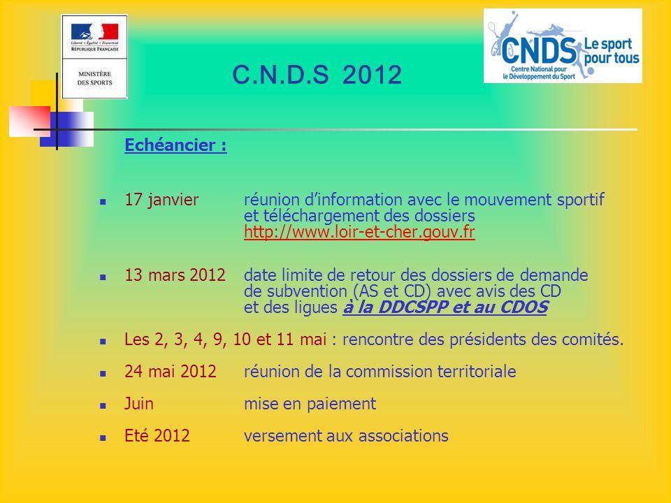 C.N.D.S 2012 Echéancier : 17 janvier réunion dinformation avec le mouvement sportif et téléchargement des dossiers http://www.loir-et-cher.gouv.fr htt