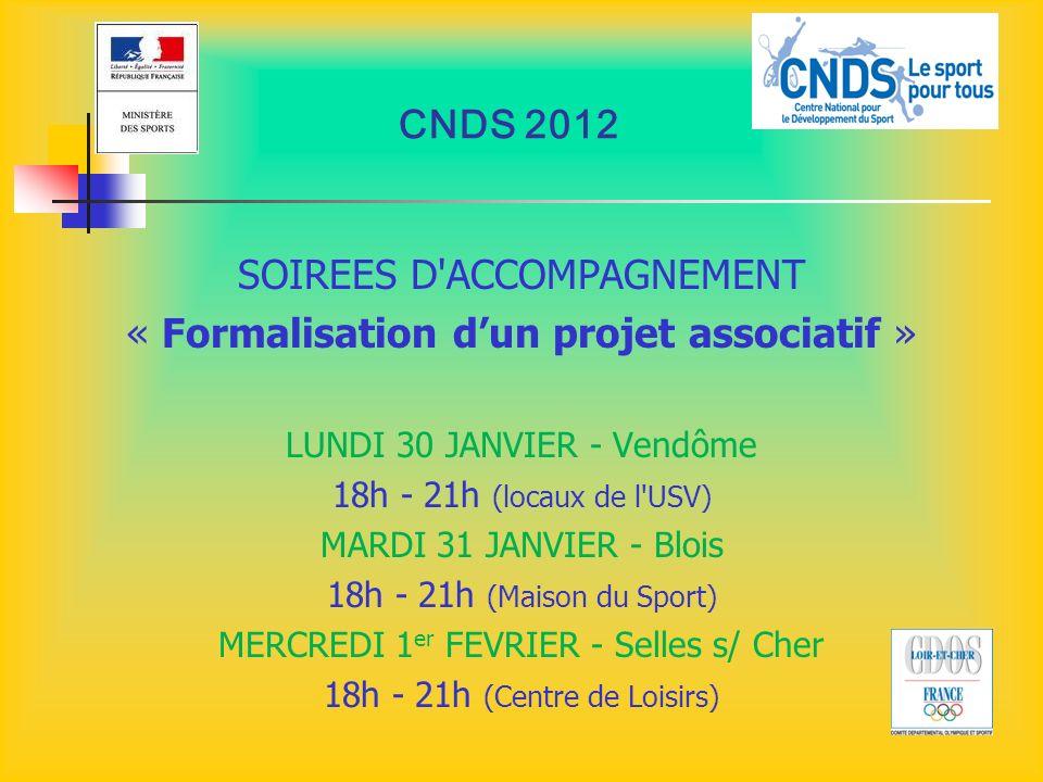 CNDS 2012 SOIREES D'ACCOMPAGNEMENT « Formalisation dun projet associatif » LUNDI 30 JANVIER - Vendôme 18h - 21h (locaux de l'USV) MARDI 31 JANVIER - B