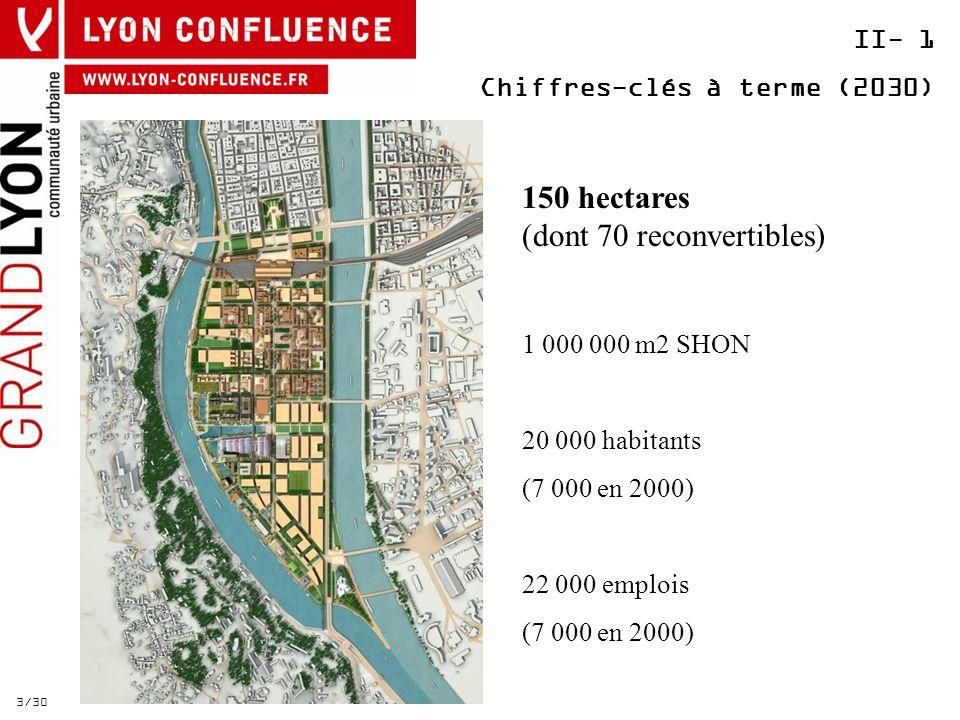 II- 1 Chiffres-clés à terme (2030) 3/30 150 hectares (dont 70 reconvertibles) 1 000 000 m2 SHON 20 000 habitants (7 000 en 2000) 22 000 emplois (7 000