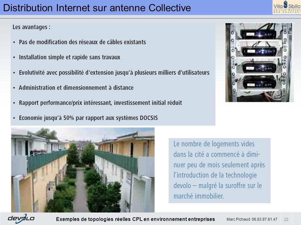 22 Exemples de topologies réelles CPL en environnement entreprises Marc Pichaud 06.83.87.81.47 Distribution Internet sur antenne Collective