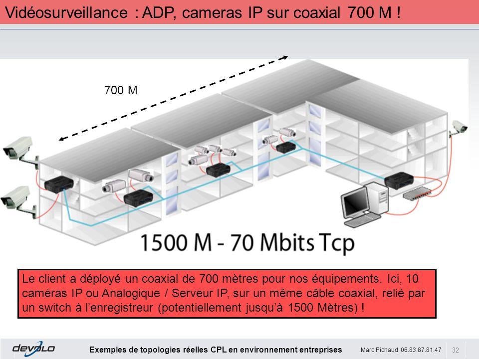 32 Exemples de topologies réelles CPL en environnement entreprises Marc Pichaud 06.83.87.81.47 Le client a déployé un coaxial de 700 mètres pour nos é
