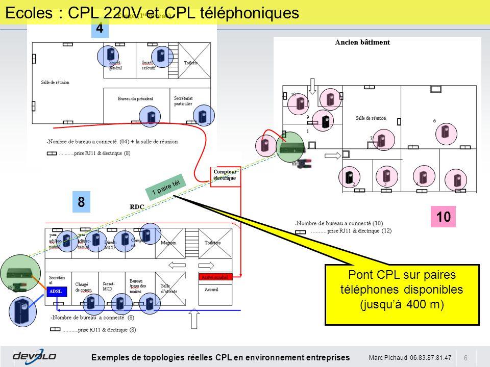 6 Exemples de topologies réelles CPL en environnement entreprises Marc Pichaud 06.83.87.81.47 4 10 8 1 paire tél Ecoles : CPL 220V et CPL téléphonique