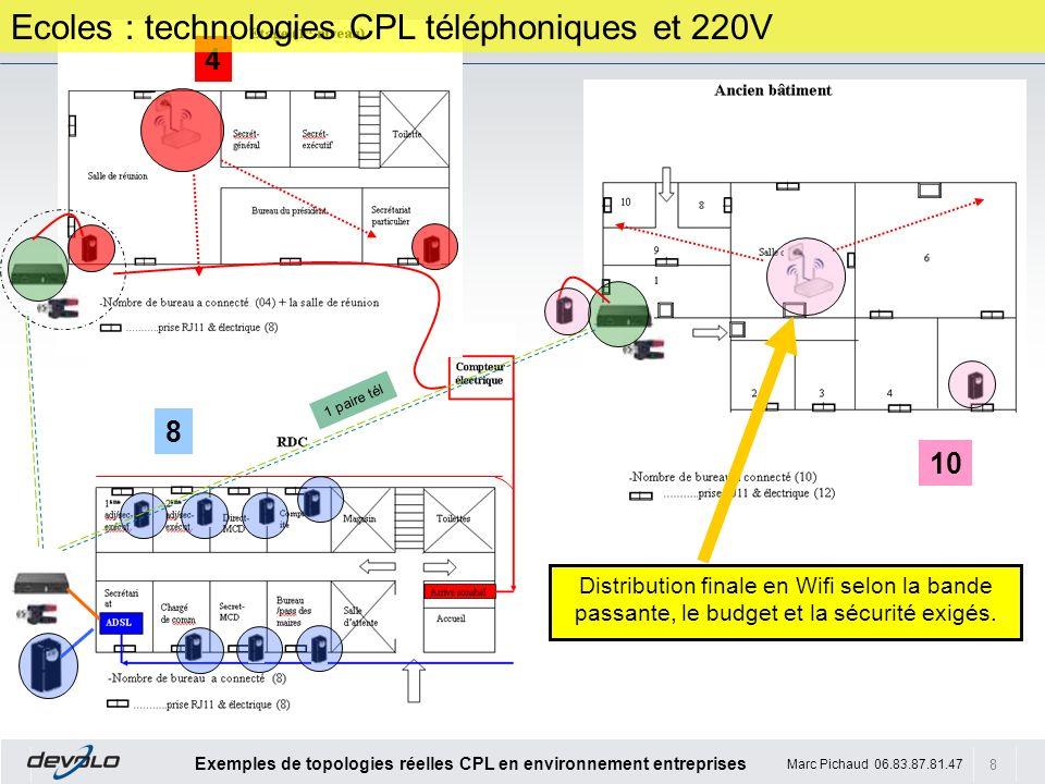 8 Exemples de topologies réelles CPL en environnement entreprises Marc Pichaud 06.83.87.81.47 4 10 8 1 paire tél Ecoles : technologies CPL téléphoniqu