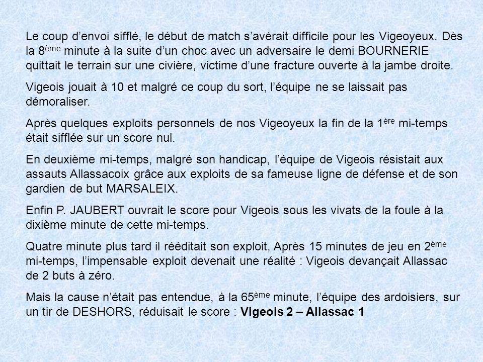 Le coup denvoi sifflé, le début de match savérait difficile pour les Vigeoyeux.