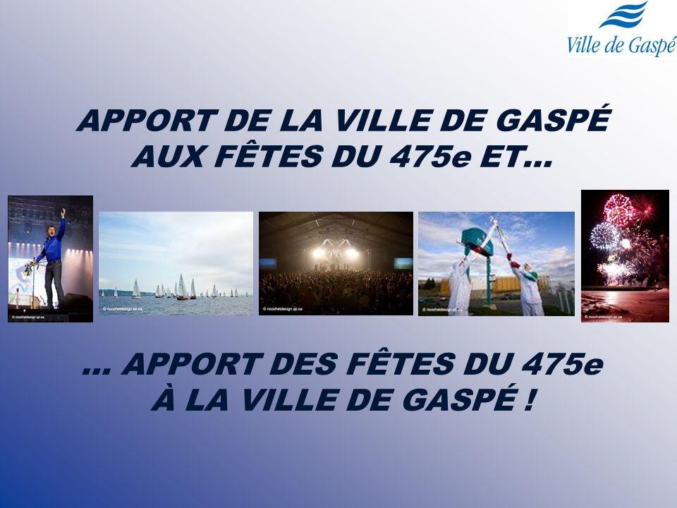 APPORT DE LA VILLE DE GASPÉ AUX FÊTES DU 475e ET… … APPORT DES FÊTES DU 475e À LA VILLE DE GASPÉ !