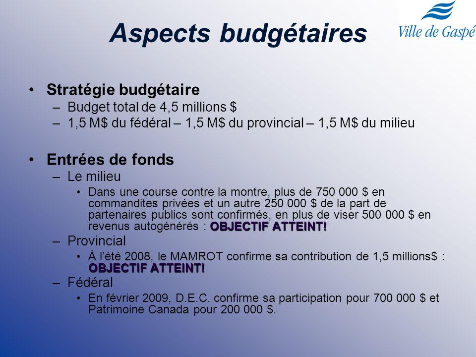 Aspects budgétaires Stratégie budgétaire –Budget total de 4,5 millions $ –1,5 M$ du fédéral – 1,5 M$ du provincial – 1,5 M$ du milieu Entrées de fonds