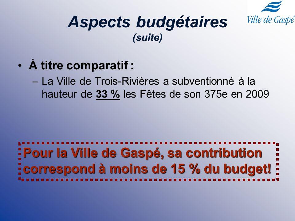 Aspects budgétaires (suite) À titre comparatif : –La Ville de Trois-Rivières a subventionné à la hauteur de 33 % les Fêtes de son 375e en 2009 Pour la