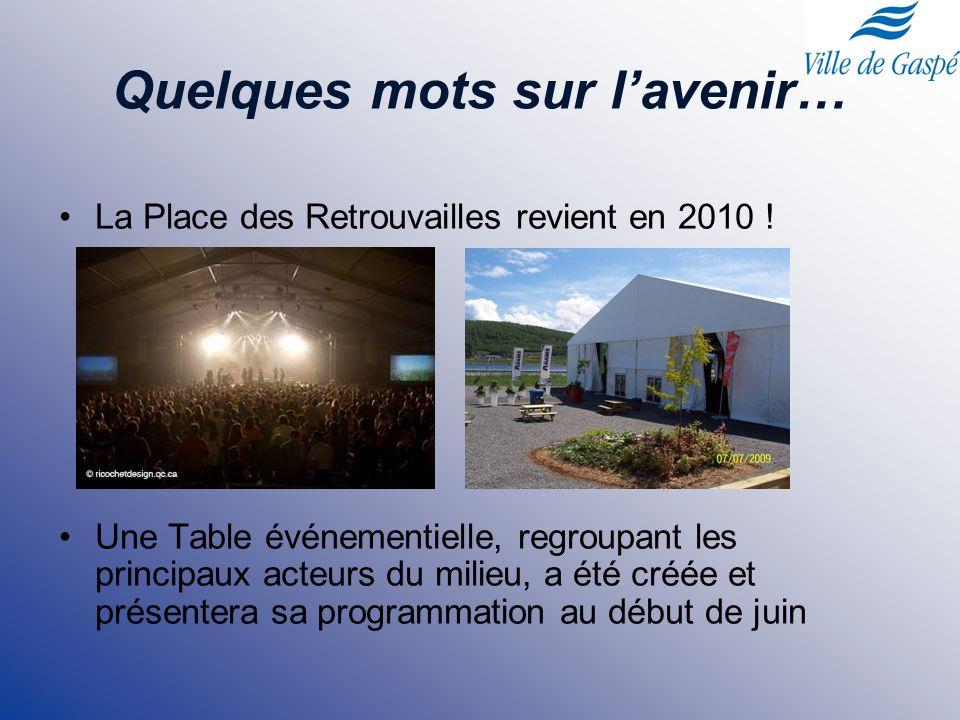 Quelques mots sur lavenir… La Place des Retrouvailles revient en 2010 ! Une Table événementielle, regroupant les principaux acteurs du milieu, a été c