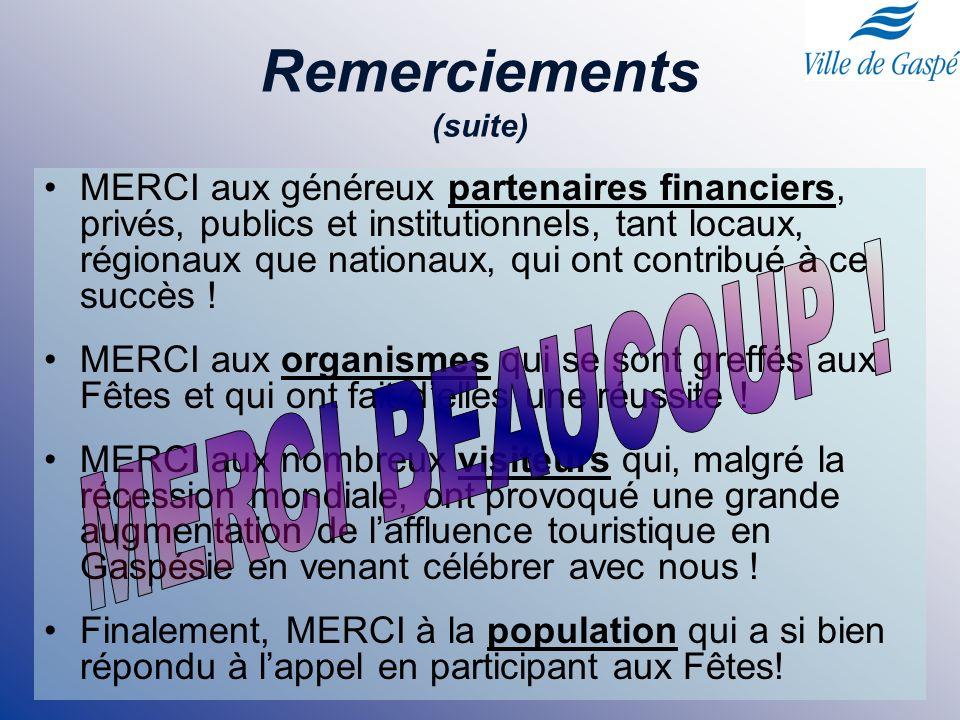 Remerciements (suite) MERCI aux généreux partenaires financiers, privés, publics et institutionnels, tant locaux, régionaux que nationaux, qui ont con