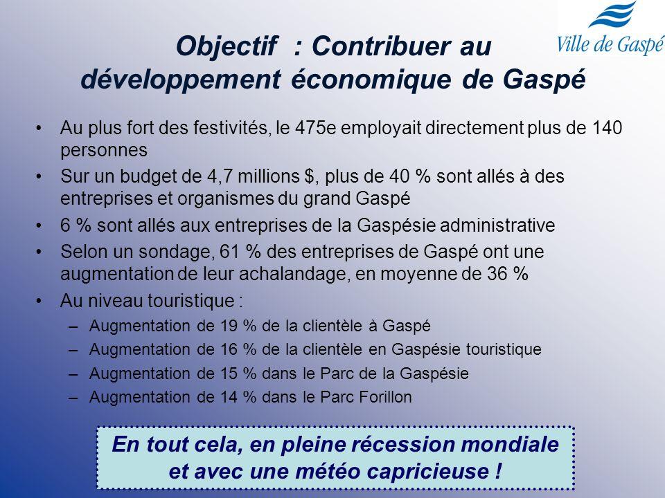 Donner une visibilité et une image positive de Gaspé et de la Gaspésie par le développement du sentiment de fierté des Gaspésiens Objectifs Contribuer au développement économique de Gaspé Contribuer au développement des infrastructures en laissant un legs durable