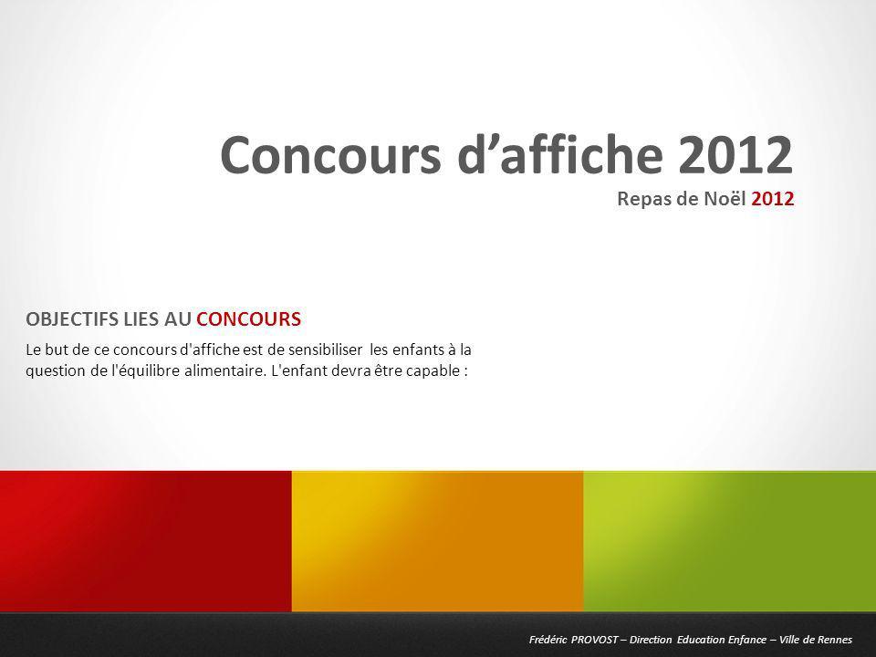 Frédéric PROVOST – Direction Education Enfance – Ville de Rennes Concours daffiche 2012 Le but de ce concours d'affiche est de sensibiliser les enfant