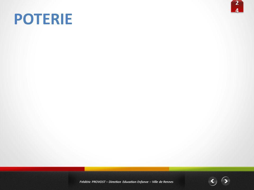 POTERIE 2424 2424 Frédéric PROVOST – Direction Education Enfance – Ville de Rennes Public : Elémentaires Titre : « La douceur du jardin « dit Vert » »