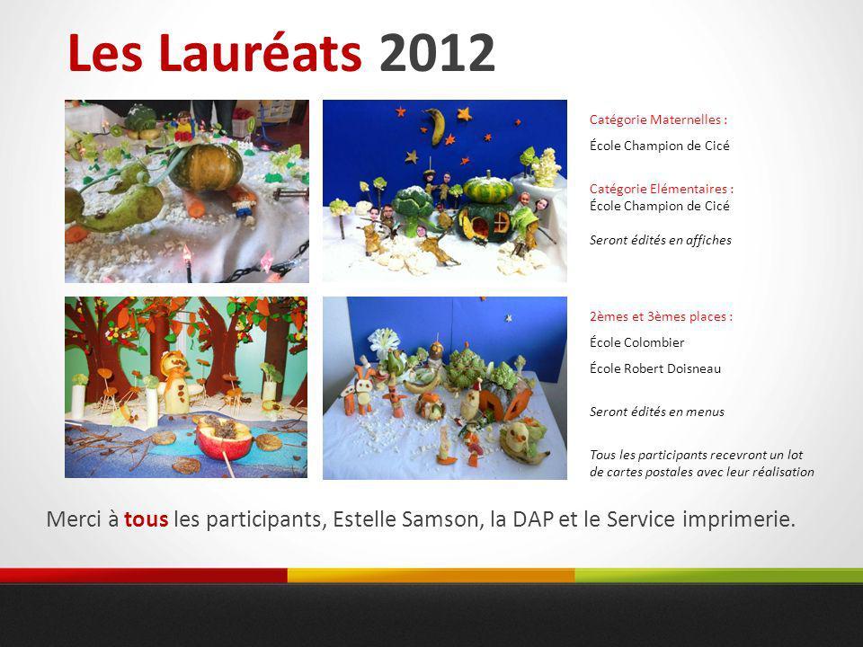 Merci à tous les participants, Estelle Samson, la DAP et le Service imprimerie. Les Lauréats 2012 Catégorie Maternelles : École Champion de Cicé Catég
