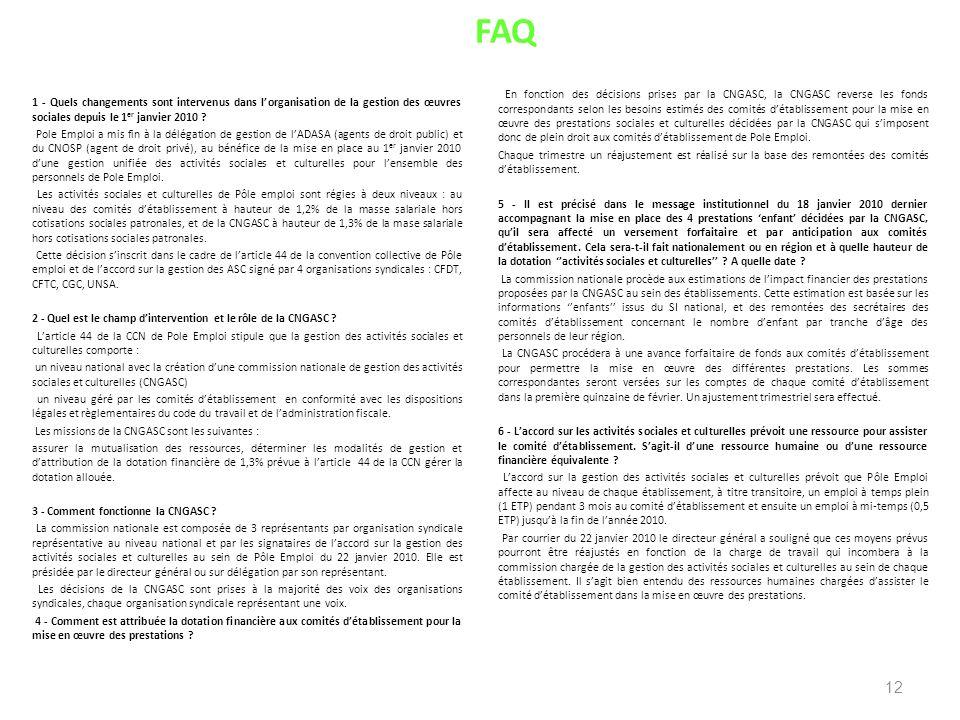 FAQ 1 - Quels changements sont intervenus dans lorganisation de la gestion des œuvres sociales depuis le 1 er janvier 2010 ? Pole Emploi a mis fin à l