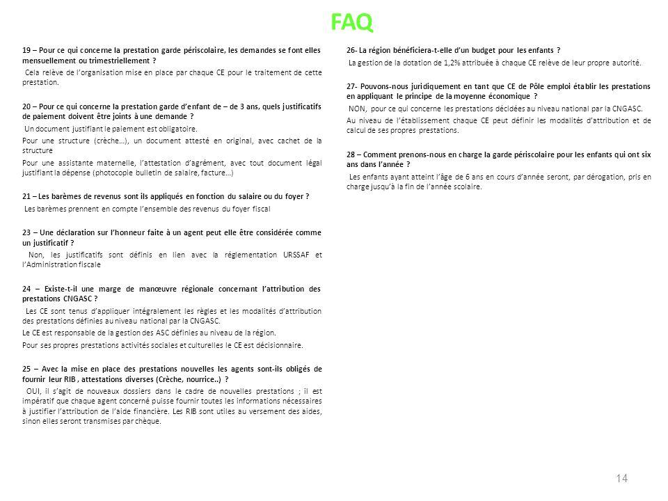 FAQ 19 – Pour ce qui concerne la prestation garde périscolaire, les demandes se font elles mensuellement ou trimestriellement ? Cela relève de lorgani