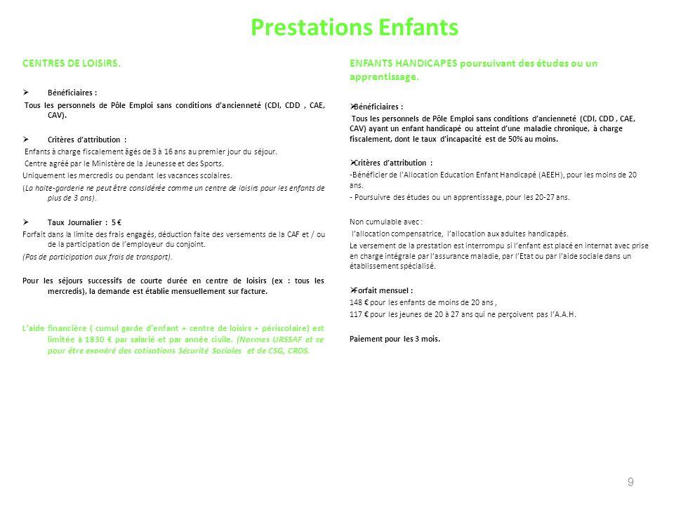 Prestations Enfants CENTRES DE LOISIRS. Bénéficiaires : Tous les personnels de Pôle Emploi sans conditions dancienneté (CDI, CDD, CAE, CAV). Critères