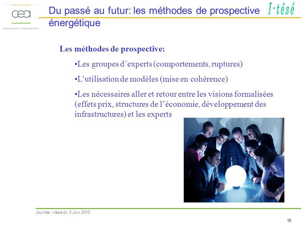 Journée I-tésé du 3 Juin 2010 18 Du passé au futur: les méthodes de prospective énergétique Les méthodes de prospective: Les groupes dexperts (comport