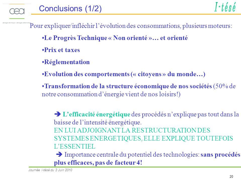 Journée I-tésé du 3 Juin 2010 20 Conclusions (1/2) Pour expliquer/infléchir lévolution des consommations, plusieurs moteurs: Le Progrès Technique « No