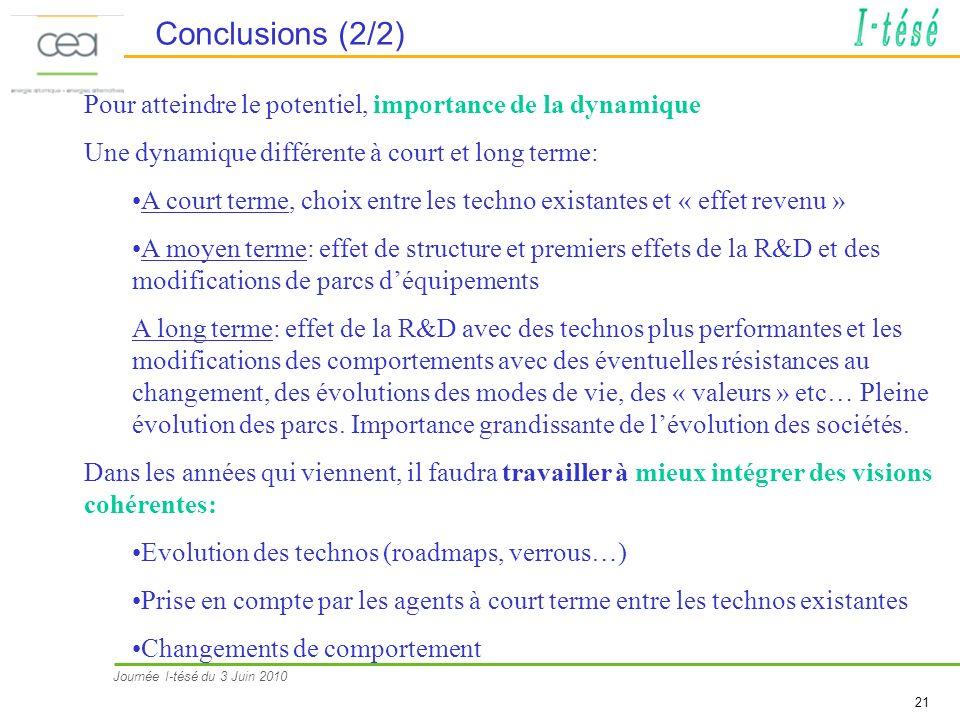 Journée I-tésé du 3 Juin 2010 21 Conclusions (2/2) Pour atteindre le potentiel, importance de la dynamique Une dynamique différente à court et long terme: A court terme, choix entre les techno existantes et « effet revenu » A moyen terme: effet de structure et premiers effets de la R&D et des modifications de parcs déquipements A long terme: effet de la R&D avec des technos plus performantes et les modifications des comportements avec des éventuelles résistances au changement, des évolutions des modes de vie, des « valeurs » etc… Pleine évolution des parcs.