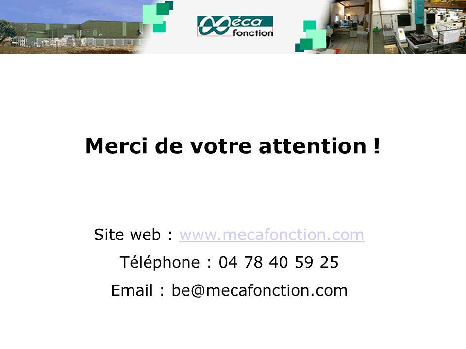 Merci de votre attention ! Site web : www.mecafonction.comwww.mecafonction.com Téléphone : 04 78 40 59 25 Email : be@mecafonction.com