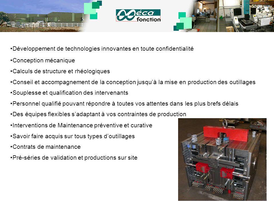 Développement de technologies innovantes en toute confidentialité Conception mécanique Calculs de structure et rhéologiques Conseil et accompagnement