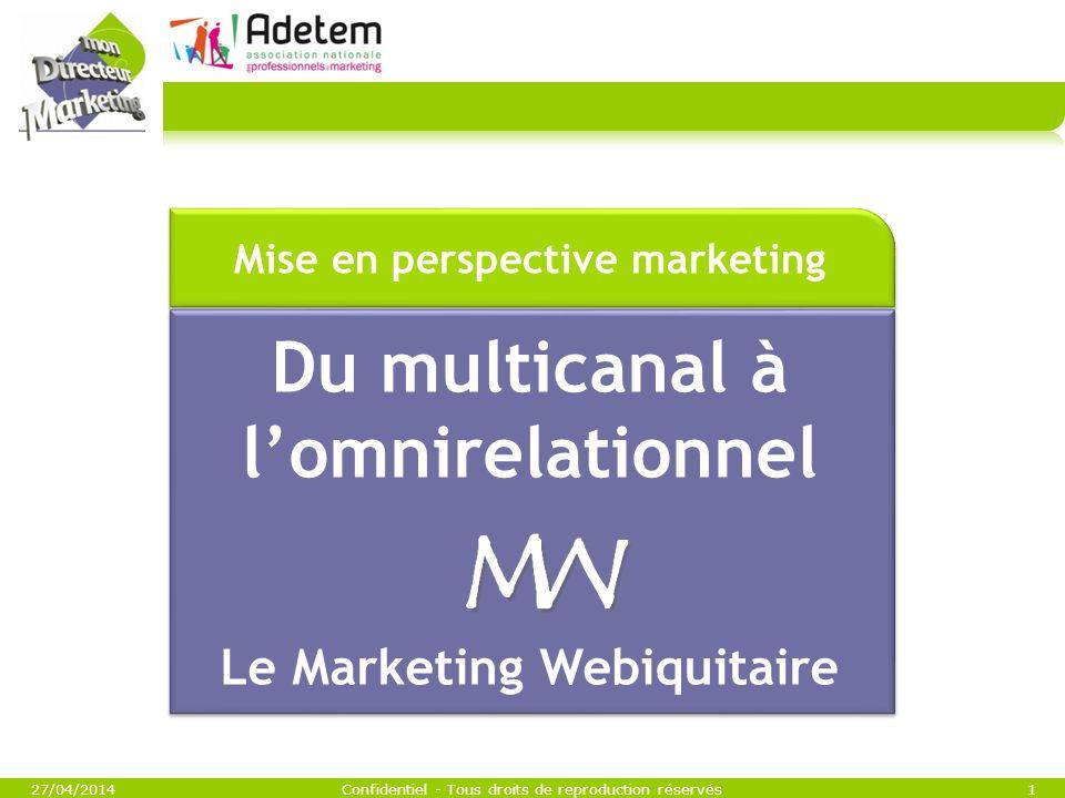 27/04/2014Confidentiel - Tous droits de reproduction réservés1 Du multicanal à lomnirelationnel Le Marketing Webiquitaire Mise en perspective marketin