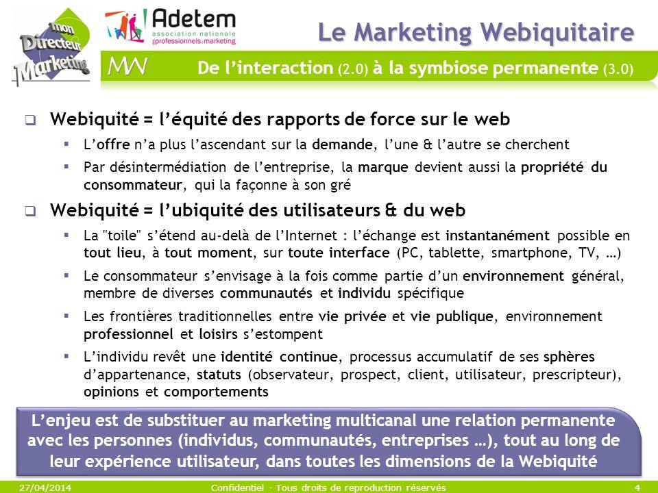 Le Marketing Webiquitaire Le Marketing Webiquitaire De linteraction (2.0) à la symbiose permanente (3.0) Webiquité = léquité des rapports de force sur