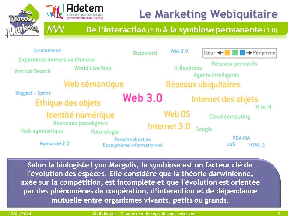 Le Marketing Webiquitaire Le Marketing Webiquitaire De linteraction (2.0) à la symbiose permanente (3.0) 27/04/2014Confidentiel - Tous droits de repro