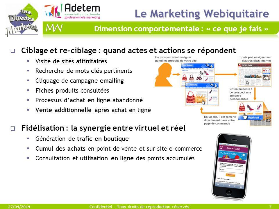 Le Marketing Webiquitaire Le Marketing Webiquitaire Dimension comportementale : « ce que je fais » 27/04/2014Confidentiel - Tous droits de reproductio