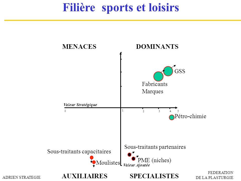 MENACES DOMINANTS AUXILIAIRESSPECIALISTES Valeur Ajoutée Valeur Stratégique 0 3452 1 Pétro-chimie GSS Fabricants Marques Moulistes PME (niches) Sous-t