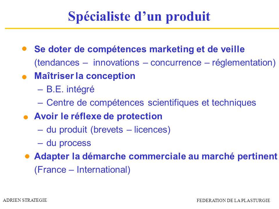Spécialiste dun produit Se doter de compétences marketing et de veille (tendances – innovations – concurrence – réglementation) Maîtriser la conceptio